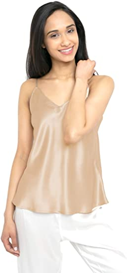 MYK 21 Momme 100% Pure Silk Camisole with Adjustable Strap for .
