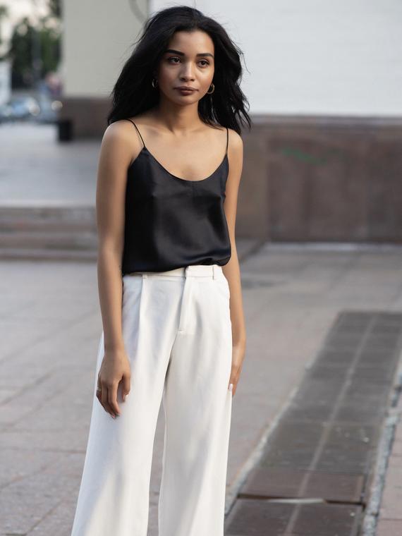 Black silk camisole Scoop-neck silk-satin cami top womens | Et