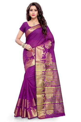 Purple And Golden Casual Wear Fancy Silk Cotton Saree, With Blouse .