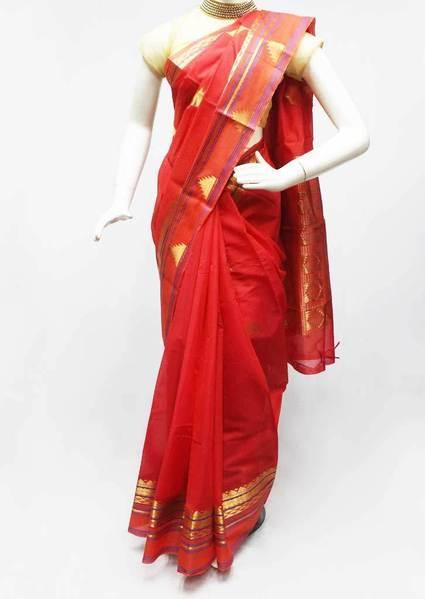 Red Silk Cotton Saree - FR472