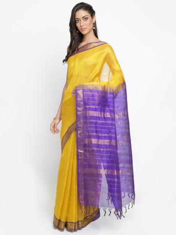 Buy The Chennai Silks Classicate Yellow Solid Silk Cotton Saree on .