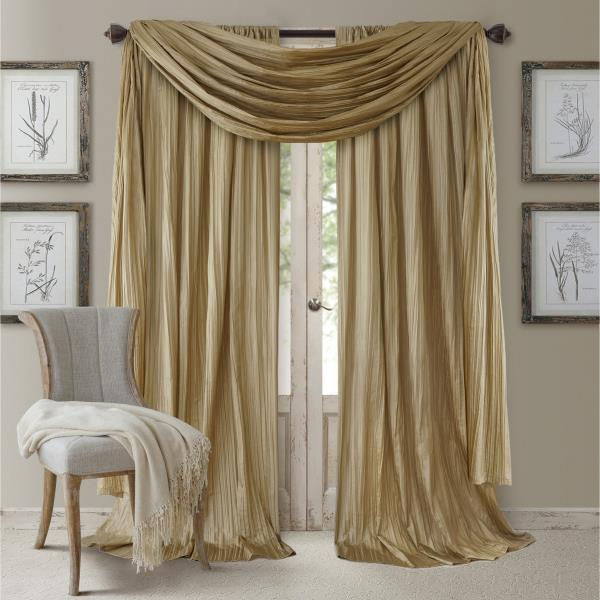 Set 2 Solid Gold Faux Silk Curtains Panels Drapes Pair WITH SCARF .