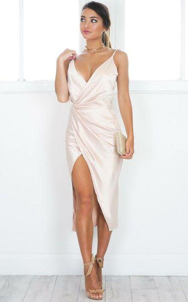 dress, satin, slit, beautiful, silk dress, wrap dress, white, off .
