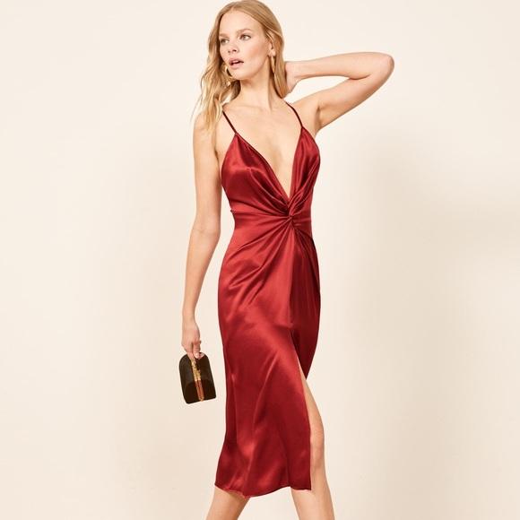 Reformation Dresses | Robertson Silk Dress Crimson | Poshma