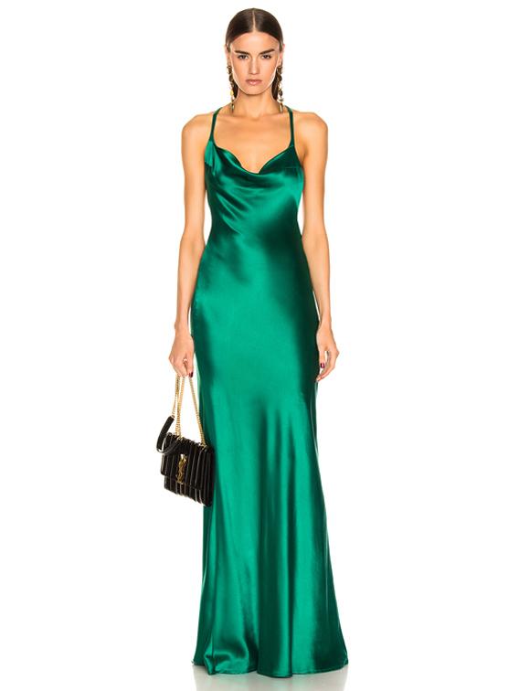GALVAN Silk Whiteley Dress in Green | FW