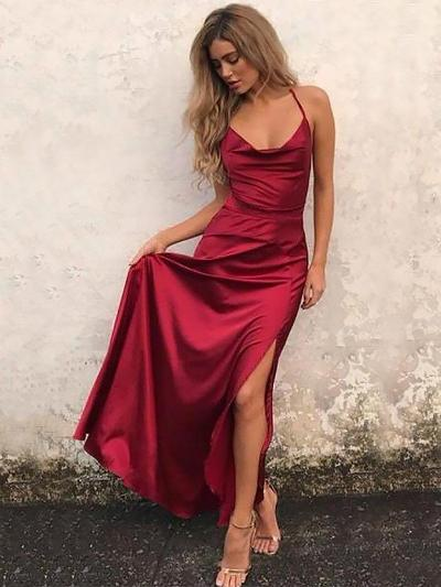 A-Line/Princess Simple Silk Like Satin Evening Dresses - | Save Up .