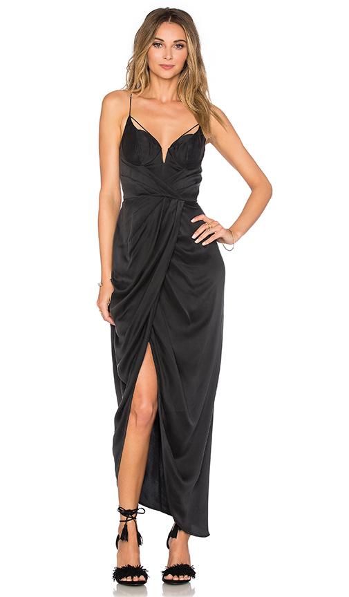 Zimmermann Sueded Silk Underwire Long Dress in Black | REVOL