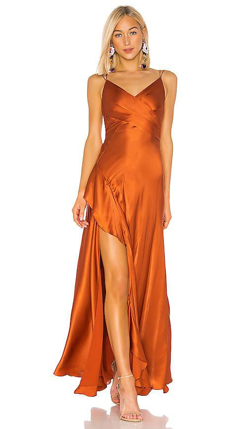 NICHOLAS Silk Charmeuse Tie Front Maxi in Deep Orange | REVOL