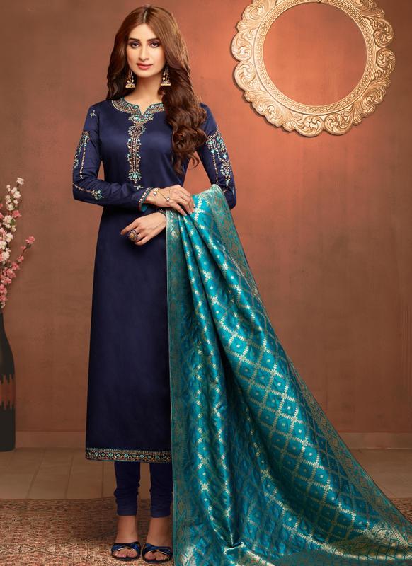 SareeBuzz Designer Party Wear Jaam Silk Salwar Suit - Saree .