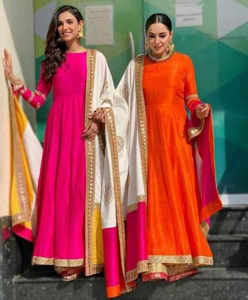 Pure Silk Color Block Anarkali Suit – FashionVib