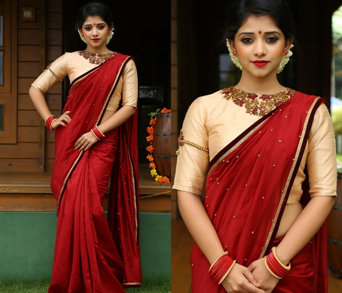 21 Ultra Simple Blouse Designs For Silk Sarees • Keep Me Styli