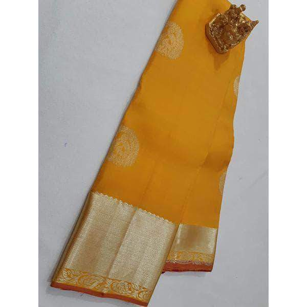 Handloom Kanchipuram Yellow Silk Sarees – FashionVib