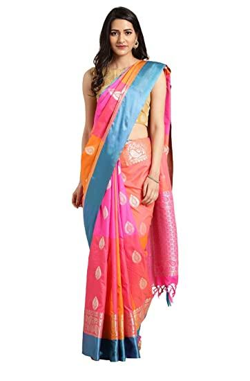 Buy VARKALA SILK SAREES Women's Banarasi Silk Saree (D60A280_Coral .