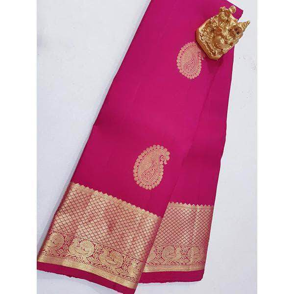 Handloom Kanchipuram Golden Pink Silk Sarees – FashionVib