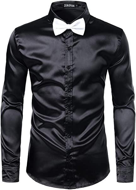 ZEROYAA Men's Luxury Shiny Silk Like Satin Button Up Dress Shirts .