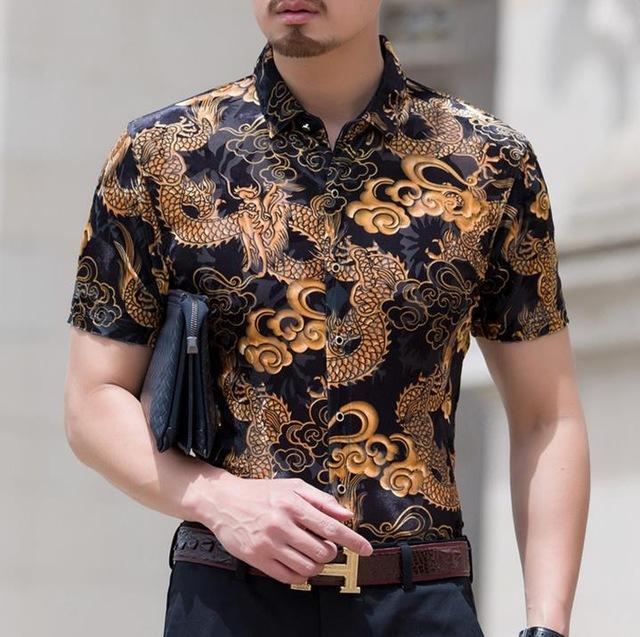 Mens Dragon Print Design Silk Shirts Men Casual Short Sleeve .