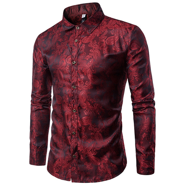 Purple Camouflage Shirt Men 2018 Brand New Smooth Silk Cotton Mens .