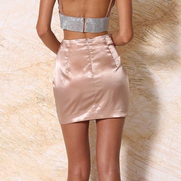 Women Sexy Imitation Silk Skirts Zipper Back Mini Skirts OL Dress .