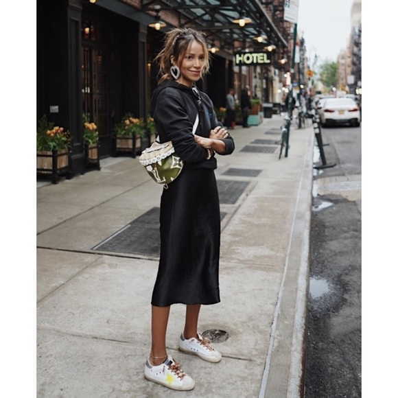 Nightcap Skirts | Bias Cut Silk Midi Skirt Black S | Poshma