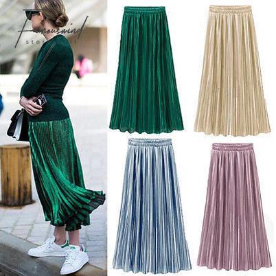 2020 Silk Skirts Long Skirt Women Ladies New Women Silky Long Maxi .