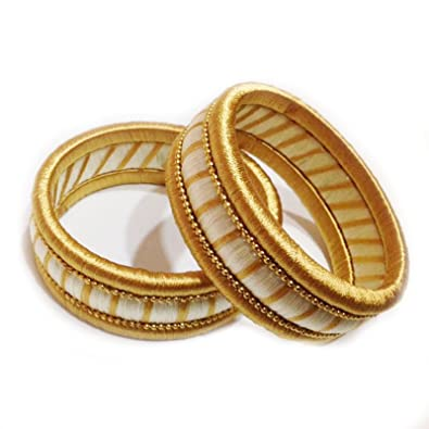 Buy Yathnics Gold Silk Thread Bangle Set For Women at Amazon.