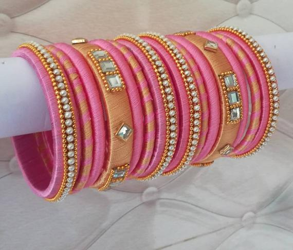 Indian silk thread bangles Wedding Accessories Set of 14 | Et
