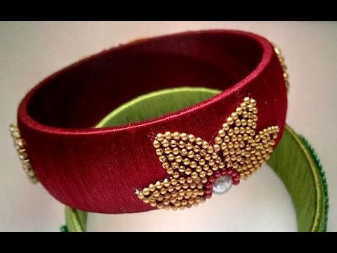 Flower stylish and trendy design silk thread bangle or kada .