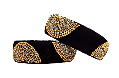 Buy Youth Black Silk Thread Bangle Set for Women at Amazon.