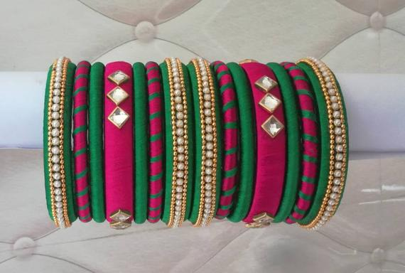 Silk thread bangles Colour Pink and Green 14 Bangles for both | Et