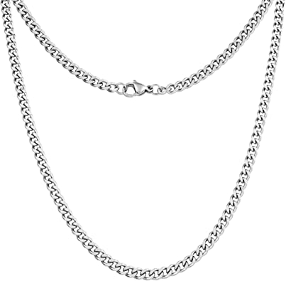 Amazon.com: Silvadore 4mm Curb Mens Necklace - Silver Chain Cuban .