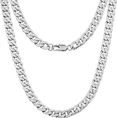 Silvadore 9mm Curb Mens Necklace - Silver Chain Flat Cuban .
