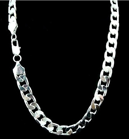Width 7 MM) Silver necklace for men 22 inch sterling silver chain .