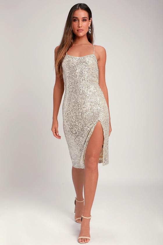 Sexy Silver Midi Dress - Sequin Midi Dress - Silver Dre