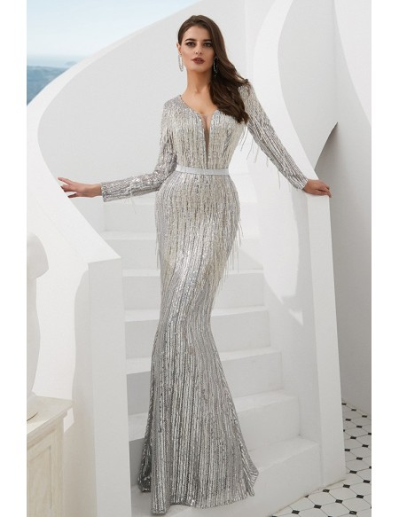 Extravagant Sparkle Silver Long Prom Dress With Beading Tassels .