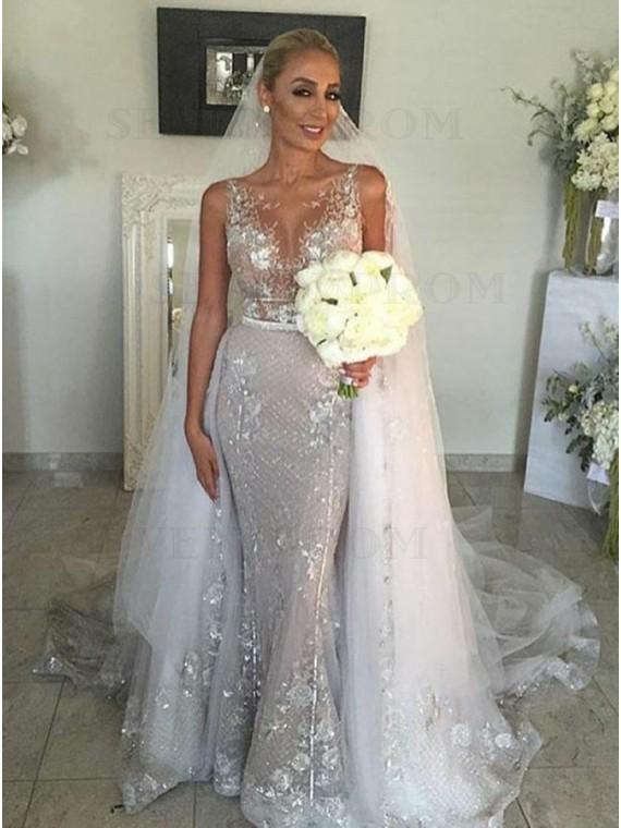 Buy Mermaid Round Neck Silver Detachable Wedding Dress with .