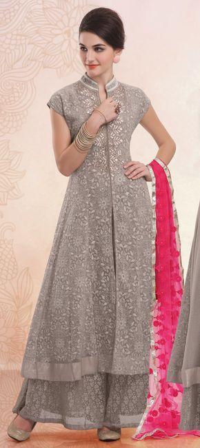 Faux Georgette Party Wear Salwar Kameez in Silver with Moti work .