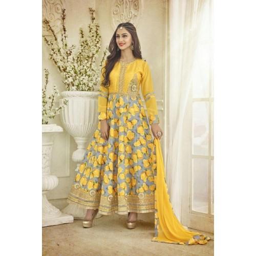 Buy Vishnu Georgette Yellow & Silver Color Salwar Kameez online .