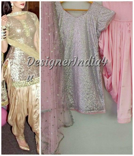 Salwar Kameez Suit Punjabi Pink Patiala Satin Shalwar Silver | Et