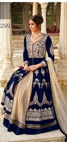 Royal Blue Velvet Silver Designer Anarkali Salwar Suits Golden .