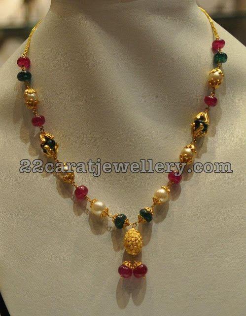 Simple Jewellery for Kurthis | Black beaded jewelry, Gold jewelry .
