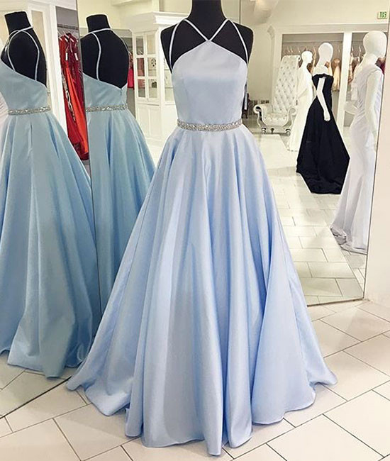 Sky Blue Long Prom Dress,Simple Formal Dress, Satin With Beaded .