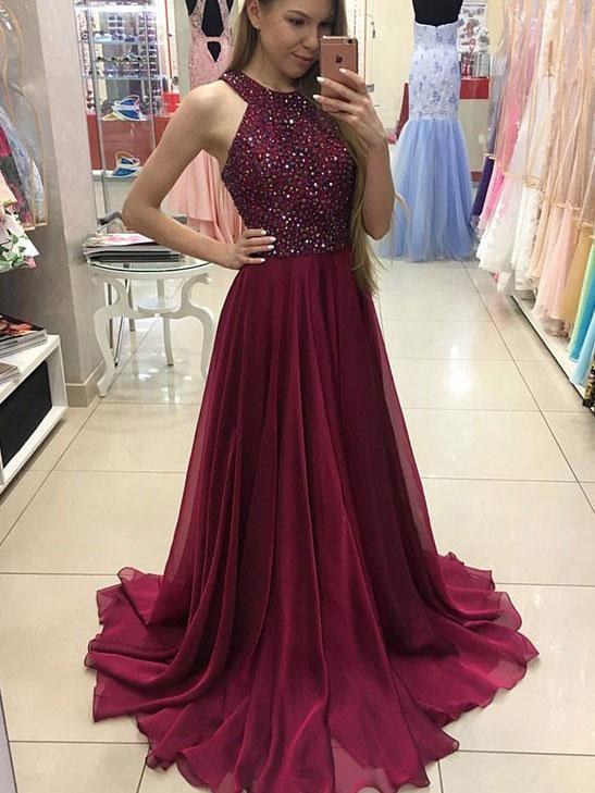 A-line Halter Burgundy Chiffon Long Prom Dresses,Simple Pageant .