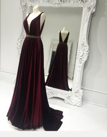 A-line V-neck Maroon Satin Prom Dresses,Beaded Formal Dresses .