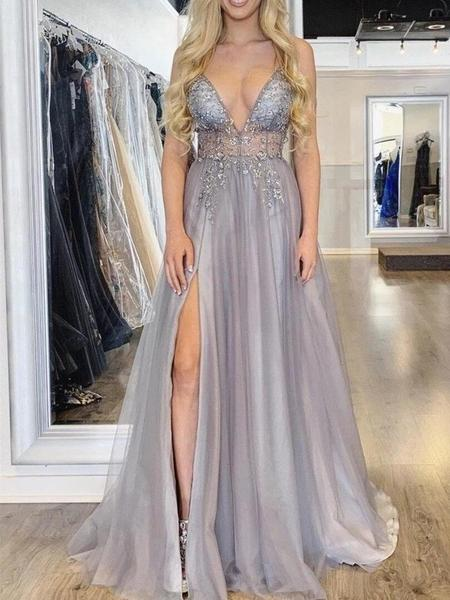 Simple Prom Dress with Slit, Pageant Dress, Evening Dress, Dance .