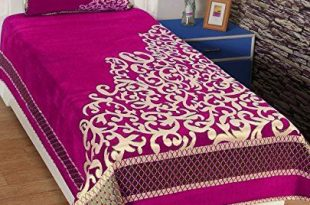 Rj Products Quality Chenille Violet Single Bedsheet With 1 Pillow .