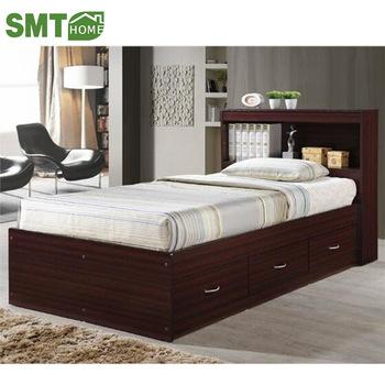 storage melamine MDF wooden single bed sheet design with drawe