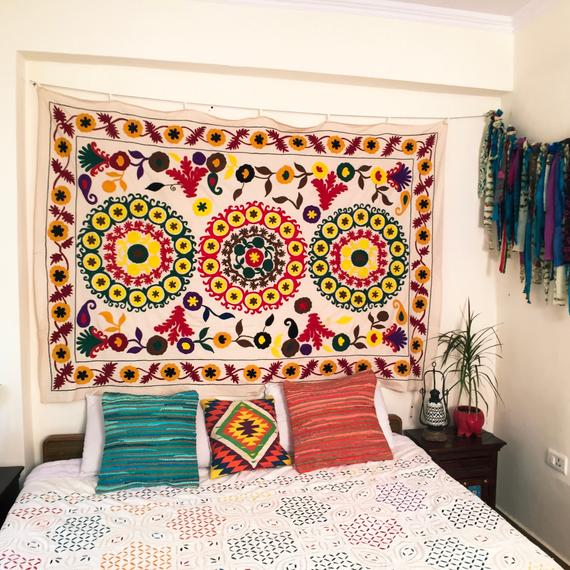 Hand embroidered bed sheet single bed sofa throw indian | Et