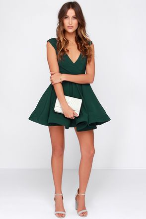 All the Right Moves Forest Green Skater Dress (With images .