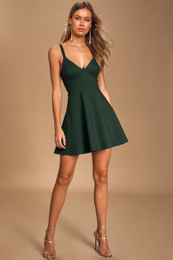 Green Skater Dress - Bustier Mini Dress - Sleeveless Mini Dre