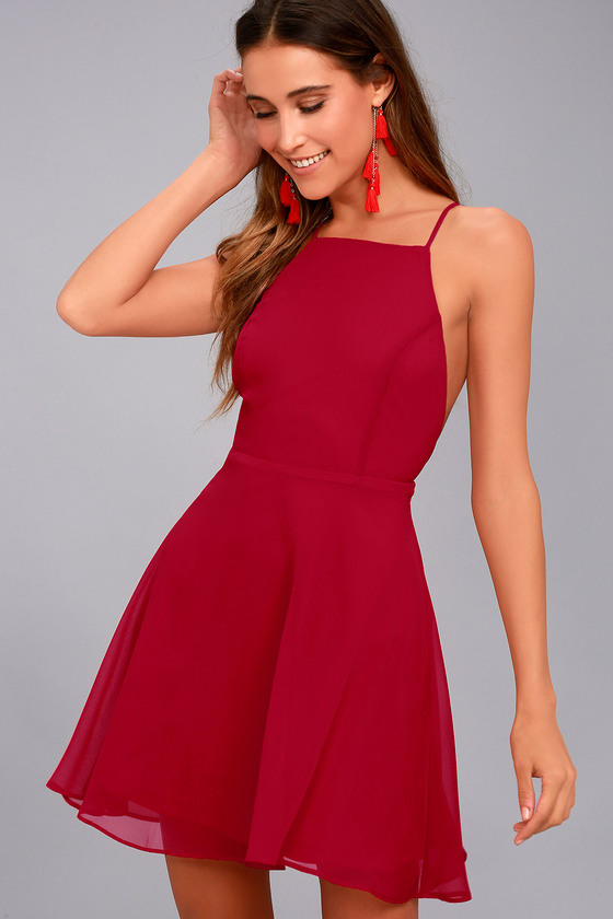 Lovely Red Dress - Skater Dress - Fit and Flare Dre